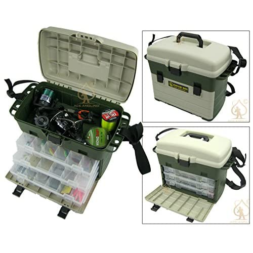 Ace Angling™ Large <strong>Fishing< strong> Tackle <strong>Box< strong>. Can Be Used As <strong>Seat Box< strong>. Carp Sea Rigs Boat Tackle <strong>Box< strong>