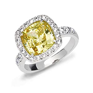 Bling Jewelry Canary Yellow CZ Cushion Cut 925 Sterling 3ct Engagement Ring