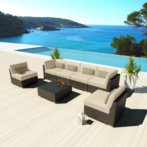 Uduka Outdoor Sectional Patio Furniture Espresso Brown Wicker Sofa Set Daly 7 Light Beige All Weather Couch picture