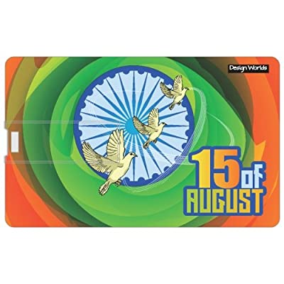 Design worlds 16GB Credit card Shape Pendrive 15th August Multicolor