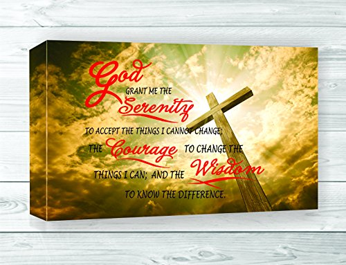 Serenity Prayer God Grant Me The Bible Jesus Christian Church 24X15 Canvas Art Print Home Decor front-729183