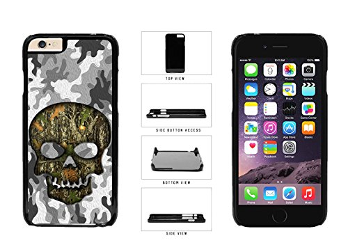 Human Skull With Camo Pattern Background Plastic Phone Case Back Cover For Apple iPhone 6 Plus (5.5 Inches Screen) comes with Security Tag and myPhone Designs(TM) Cleaning Cloth