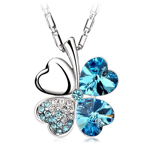 Chaomingzhen 18k White Gold Plated Charm Blue Heart Shape Four Leaf Lucky Clover Pendant Necklace Fashion Jewellery for Women Austrian Crystal with Chain 18