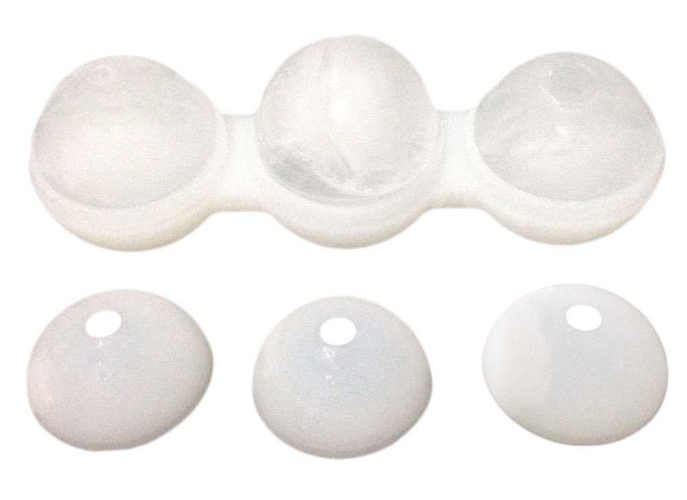 "2.5"" Silicone Ice Ball Molds for Whiskey - Makes 3 Large Slow Melting Ice Balls with This Ice Ball Maker"
