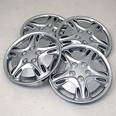 TuningPros WSC2-028S15 Hubcaps Wheel Skin Cover Type 2 15-Inches Silver Set of 4