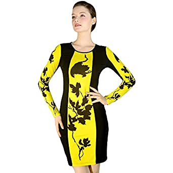 Womens Celebrity Inspired Floral Long Sleeve Bodycon Party Dress (S/M 8/10, Black and yellow)