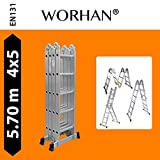 WORHAN® 5.7m Foldable Multipurpose Multifunction Aluminium BIG HINGE Ladder with Twin Stabilizers Step Ladder KS5.7