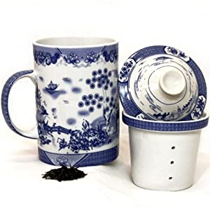 Chinese Village Porcelain Tea / Coffee Cup with Filter