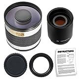 Rokinon 500mm f 6.3 Multi-Coated Mirror Lens with 2x Teleconverter (=1000mm) for Canon EOS 7D - 5D Mark II III - 60D - Rebel T3 - T3i - T2i Digital SLR Cameras