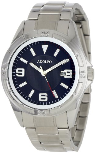 ADOLFO Men's 31027B Round Calendar Rotating Bezel Watch