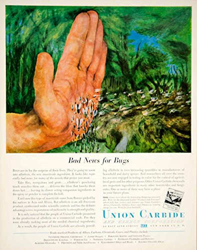 1951-ad-union-carbide-carbon-allethrin-insecticide-chemical-bugs-art-gnat-yft7-original-print-ad