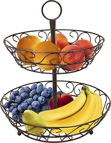 Sorbus® 2-Tier Countertop Fruit Basket Holder & Decorative Bowl Stand-Perfect for Fruit, Vegetables, Snacks, Household Items, and Much More (Bronze)