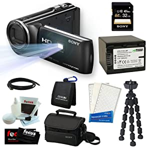 Sony HDR-PJ230/B 8GB Full HD Camcorder with Projector Bundle with Sony 32GB Memory Card + Sony Soft Carrying Case + Wasabi Power Replacement Battery for NP-FV100 and Accessory Kit