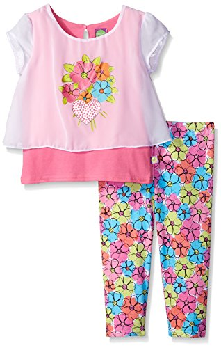Dollie & Me Big Girls' Knit Mock Tank with Pop-Over Tunic and Floral Legging, Pink/White, 8