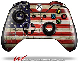 Painted Faded and Cracked USA American Flag - Decal Style Skin fits Microsoft XBOX One Wireless Controller by Matrix Productions, Inc.