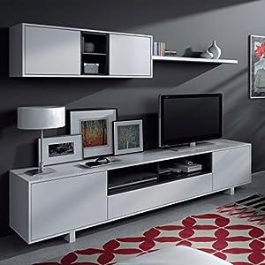 Belus meuble tv mural 200 cm noir blanc for Meuble mural amazon