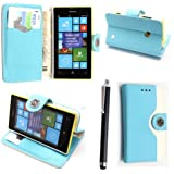 NOKIA LUMIA 520 CARD POCKET PU LEATHER BOOK FLIP CASE COVER POUCH + FREE STYLUS (Sky Blue and White Book)