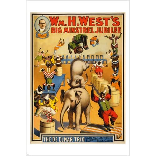 vintage circus poster MINSTREL JUBILEE 24X36 acrobatic BLACK CLOWNS prized