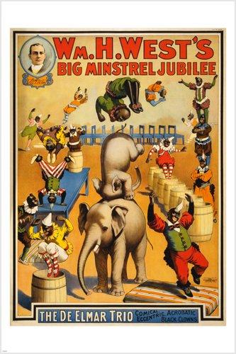 vintage circus poster MINSTREL JUBILEE 24X36 acrobatic BLACK CLOWNS prized 0