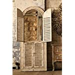 Wooden Arched Window Mirror with Louvered Doors