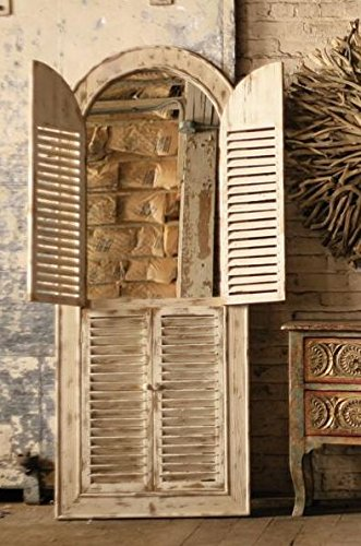 Wooden Arched Window Mirror with Louvered Doors 0