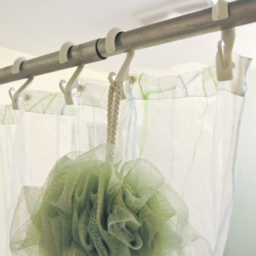 Grey Ruffle Shower Curtain Double Sided Transparent Tape