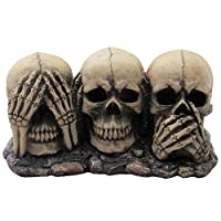 No Evil Skulls Figurine for Scary Halloween Decorations and Spooky Skeleton Statues & Medieval Fantasy Home Decor Sculptures and Gothic Gifts from Generic