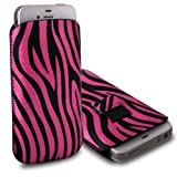 CNL PINK & BLACK ZEBRA PATTERN LEATHER PULL-UP POUCH COVER CASE SLEEVE FOR THE LG OPTIMUS 4X HD P880