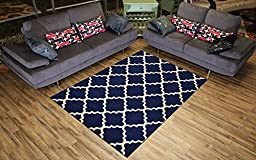 Trellis Area Rug Rugs Contemporary Modern Lattice Design Area Rug Rugs 5 Color Options Available (Navy Blue, 4\'11\