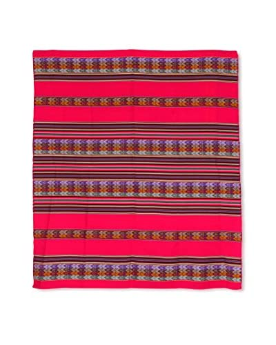 Uptown Down Found Peruvian Woven Throw, Magenta/Multi