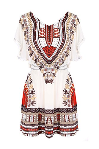 G2 Chic Women's Butterfly Sleeve Flowy Chiffon Dress