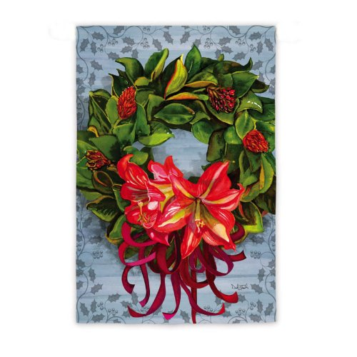 Evergreen Enterprises, Inc. Christmas Garden Flag Magnolia Wreath