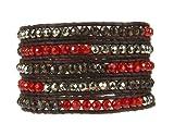 Chan Luu Carnelian Pyrite Multi Wrap Gold Bracelet on Leather BG2259