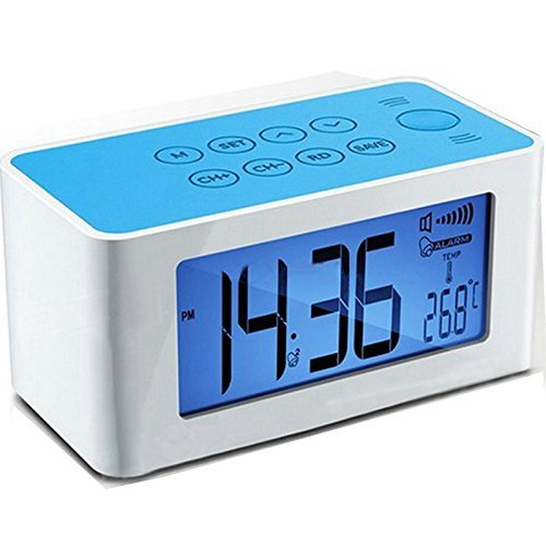 Peakeep Radio Alarm Clock with Wireless Iductive Speaker for iPhone/iPod/Samsung/HTC Smart Phone and more, Automatic Temperature, Set Time, Alarm, FM Frequency