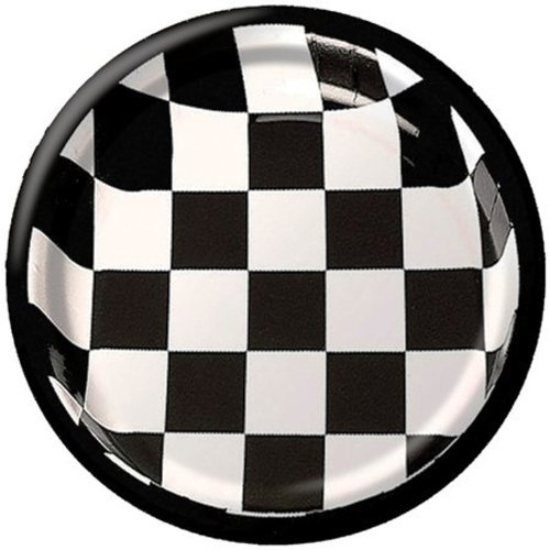 Creative Converting 25 Count Round Dinner Plates, Black Check