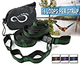 Hammock Suspension Tree Straps- Easy 16 Loops Straps - Lightweight Stretch Resistant 11' Poly Webbed Strap With Triple & Carrying Bag - 500 Total Pounds- Universal Use For ENO, Grand Trunk (Green)