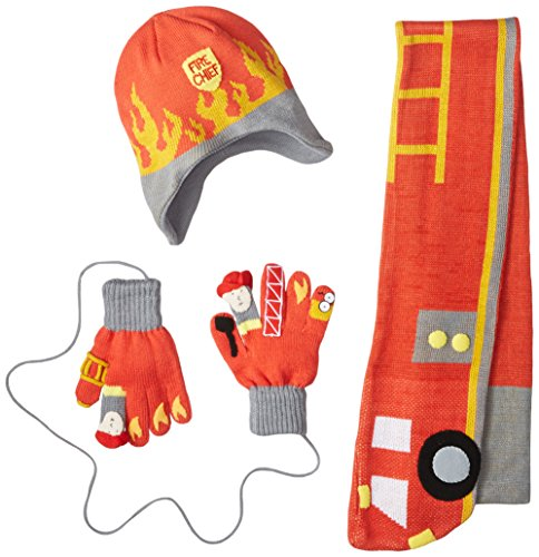 Kidorable Little Boys' Fireman Hat Scarf Set, Red, Medium