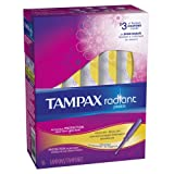 Tampax Radiant Plastic, Regular Absorbency, Unscented Tampons 16 Count