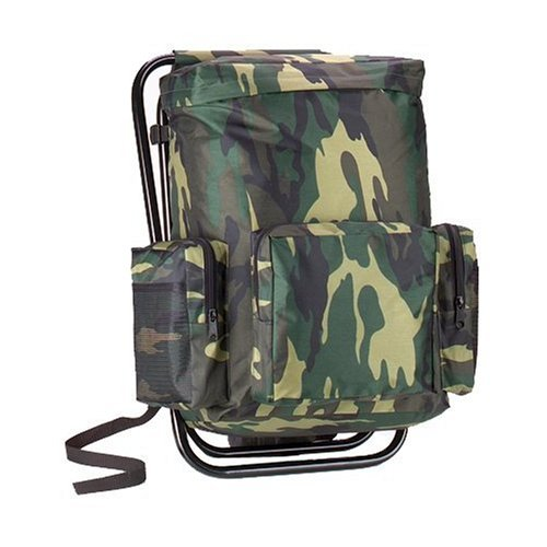 Woodland Camouflage Backpack and Stool Combination