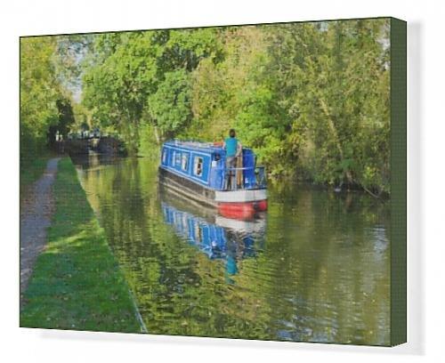 canvas-print-of-a-narrow-boat-on-the-stratford-upon-avon-canal-preston-bagot-flight-of-locks