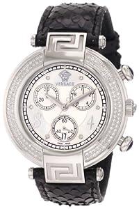 Versace Women's 68C91SD498 S009 Reve Chrono Black Genuine Python Mother-Of-Pearl Diamond Watch