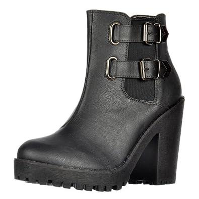 Heel Onlineshoe Rihanna femmes et élastiques côtés Boucles Chelsea Boot Black UK3 - EU36 - US5 - AU4