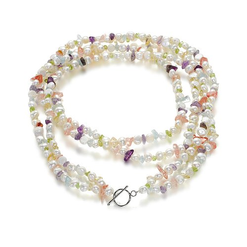 Orchira NYOU704 Silver Alloy T-Bar Clasp Ladies' Double Strand of White Pearl with Multi-Coloured Gemstone Necklace 28