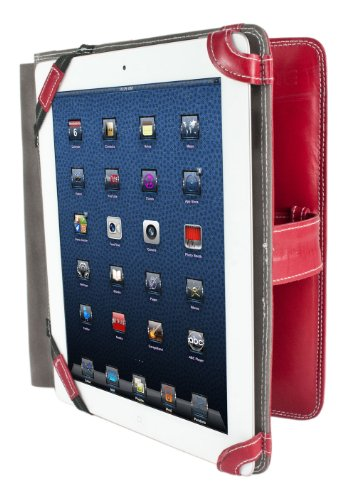 Starlite Mens & Ladies 100% Real Leather Executive Red IPAD 1 COVER Folio Wallet-FREE SHIPPING