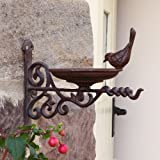 Outdoor Garden Cast Iron Hanging Basket Cottage Bird Bath Wall Mounted Hook Bracket 29.5cm & Two FREE Bags of High Quality Bird Food