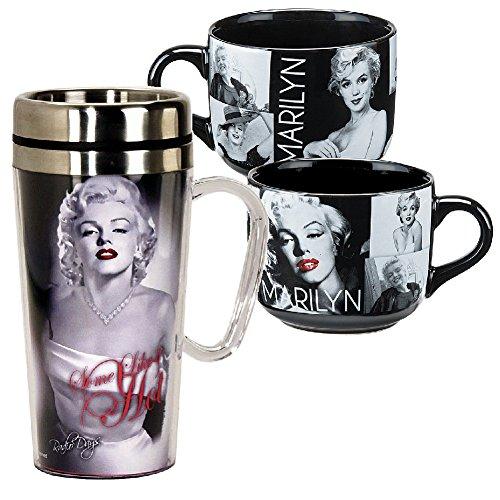B&W Marilyn Monroe Travel Mug w/ Handle and Portrait Mega Soup Mug Set (Marilyn Monroe Coffee Mug Set compare prices)