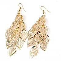 Multi Layer Bohemian Tassel Golden Leaf Dangle Earrings