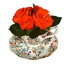 Luxe Bloom Home Collection | Botanical Porcelain Tea Cup with 5 Tangerine Preserved Roses | Lasts 60 days | Perfect home decor accent or gift for Summer, Wedding Showers, Bridesmaids or any occasion