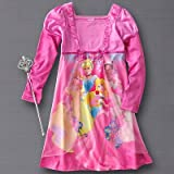 Girls Pink Disney Princess Nightgown with Toy Wand, Long Sleeve