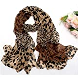 DGI MART Girl Lady Decorative Scarf Long Soft Wrap Shawl Leopard Chiffon Long Scarf Scarves Stole